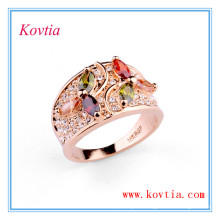 Colourful cubic zirconia wide diamond wedding ring RE0432