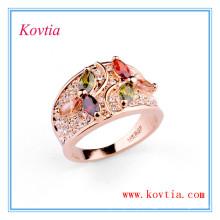 Zirconia cúbica colorida anel de casamento de diamante de largura RE0432