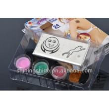 Hot Design Glitter Tattoo Schablone Anzeige Tinte Kits für Körper und Gesicht Kunst