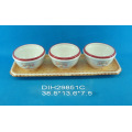 Hand-Painted Ceramic 3 Bowls with