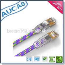 Snagless CAT6 Ethernet Lan Cable de remiendo plano / chapado en oro rj45 MHZ cable de conexión sin blindar / 4pair 8core UTP FTP puente de cable
