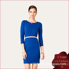 Ladies Popular Elastic 3/4 Sleeves Slim Dress (S20313)