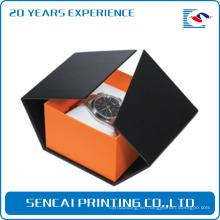 caja de cartón de reloj negro al por mayor de lujo con almohada blanca