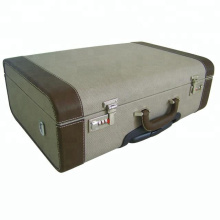 Горячая продажа досуг большой размер ручной работы холст и кожаный деревянная тележка чемодан