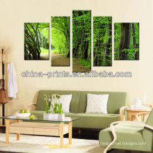 Stretched Cotton Canvas With Multi-Panel Tree Picture Print