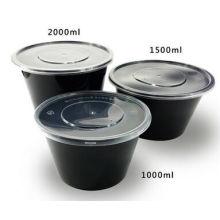 Recipiente descartável plástico do empacotamento de alimento da cor preta