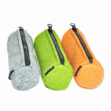 Stylish wool felt pencil case with zipper, durable and convenient, OEM orders are welcome