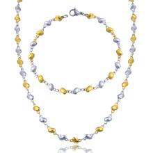 Mode Edelstahl Charm Bead Halskette und Armband Schmuck-Set