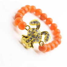 Red Aventurine Gemstone Bracelet with Diamante alloy rabbit Piece