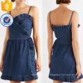 Été Spaghetti Strap Ruffled Denim Wrap Mini Dress Fabrication en gros Mode Femmes Vêtements (TA0309D)