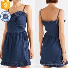 Sommer Spaghetti Strap Rüschen Denim Wrap Minikleid Herstellung Großhandel Mode Frauen Bekleidung (TA0309D)