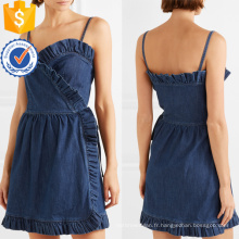 Été Spaghetti Strap Ruffled Denim Wrap Mini Dress Fabrication en gros Mode Femmes Vêtements (TA0309D)