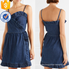 Summer Spaghetti Strap Ruffled Denim Wrap Mini Dress Manufacture Wholesale Fashion Women Apparel (TA0309D)