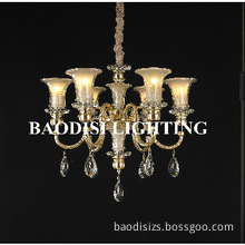 Metal lampbody with Glass lampshade pendant light,with crystal
