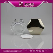 SRS amostra livre promocionais hexágono forma acrílica 50g jarra de plástico parede dupla