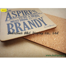 Logotipo colorido de la impresión en el corcho, práctico de costa cuadrado del corcho, estera de la cerveza del lugar del corcho con el SGS (B & C-G100)