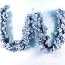 plástico branco nevado decorações de natal guirlanda de arame