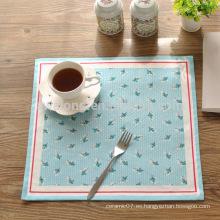 Cuadrado punto de polca tejido de algodón de lino alfombra de mesa elegancia mat