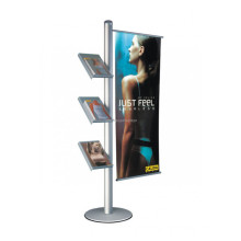 Publicité Retail Fixture Floor Metal Base Acrylic Holder Trade Show Outdoor Banner Display