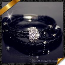 Bracelet en cuir noir, Bracelets en cuir en gros, Bracelets en perles en strass (FB087)
