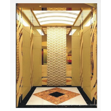 Elevador doméstico de 1350 kg MRL com acabamento em espelho dourado