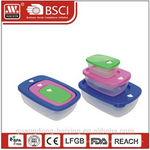 Envase de alimento plástico cuadrado set 3pcs 0.23L/0.6L/1.4L