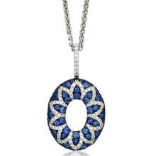Círculo redondo grande 925 plata esterlina joyería colgantes CZ azul