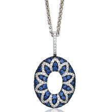 Big Round Circle 925 Sterling Silver Pendants Jóias Blue CZ