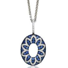 Большой круглый круг 925 серег подвески ювелирные изделия синий CZ
