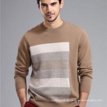мужчин шею полосатый вязаный узор в технике интарсия кашемировый свитер