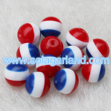8MM Round Red White & Blue Striped Acrylic Beads Spacer Chunky Gumball Beads