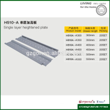 cold-roller steel single layer heightened plate drawer slide
