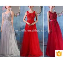 Gris rojo caliente venta larga sin mangas de alta calidad OEM servicio vestido de dama de honor