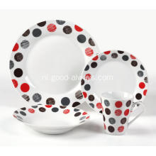 16 delige Decal porselein diner Set met stippen sticker