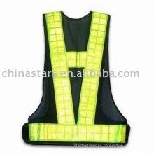Chaleco de seguridad reflectante negro EN471 con cinta pvc