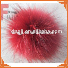 Top quality raccoon fur pom poms for hat