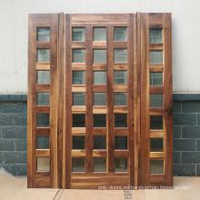 Diseños de puerta principal de madera maciza de nogal negro con vidrio certificado CE y luz lateral