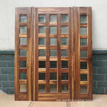 Black walnut solid wood main door designs with CE certificate glass and sidelight