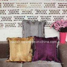 Almofadas de sofá de moda franjas Europeia high-end travesseiro com rugas