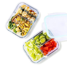 34 ounce Microwavable Airtight Glass Meal Prep food container glass bento lunch box with 3 compartment