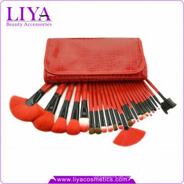 Roten professionelle 24 Stück Kunsthaar Mode Kosmetik Pinsel Set