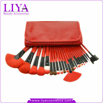 Red professional 24 pieces synthetic hair fashion cosmetic brush kit