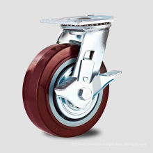 Double Ball Bearing Red PU Sice Brake Type Caster (KHX4-H1)