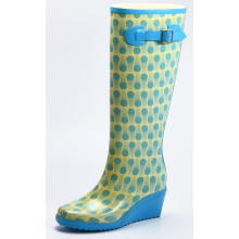 Blue Dotted Wedge Heel Rubber Rain Boots