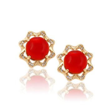 91214 xuping luxury 18k gold color synthetic zircon fashionable women's stud earrings
