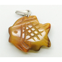 fish Shape Yellow Tiger eye pendant