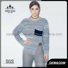 Ladies Heather Ribbed Side Slit Long Sleeve Knit Winter Clothing