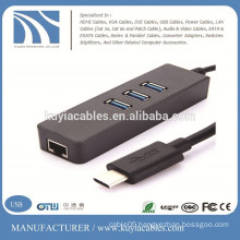 USB 3.1 Type C Multiple 3 Ports Hub with Gigabit Ethernet Network LAN Adapter