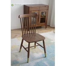 Cadeira de jantar de madeira escura traseira alta de madeira
