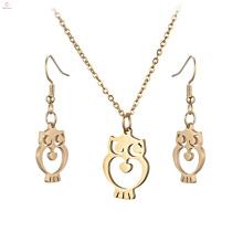 Neue Ankunft Edelstahl Großhandel Ohrring Gold Eule Halskette Schmuck-Set